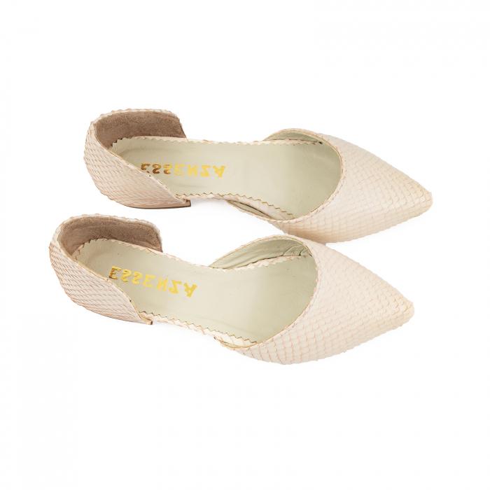 Balerini cu decupaj, din piele naturala cream cu textura tip piele de sarpe 2
