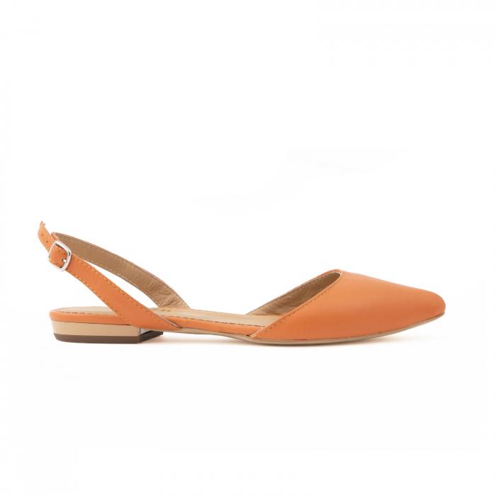 Balerini decupati cu varf ascutit , din piele naturala portocaliu-caramiziu 0