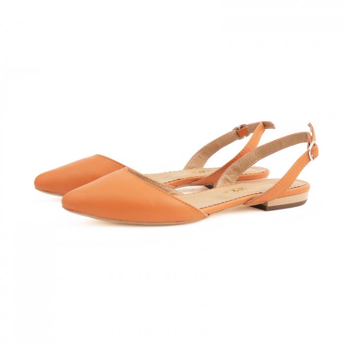 Balerini decupati cu varf ascutit , din piele naturala portocaliu-caramiziu 1