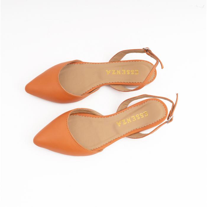 Balerini decupati cu varf ascutit , din piele naturala portocaliu-caramiziu 3