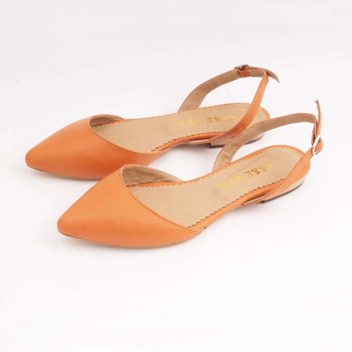 Balerini decupati cu varf ascutit , din piele naturala portocaliu-caramiziu 2