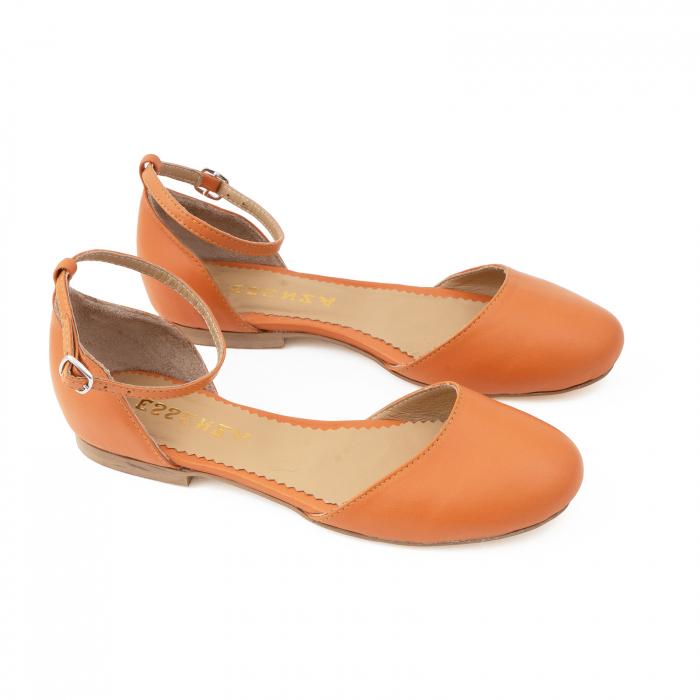 Balerini decupati pe laterale, cu bareta la staif, din piele naturala portocaliu-caramiziu [2]