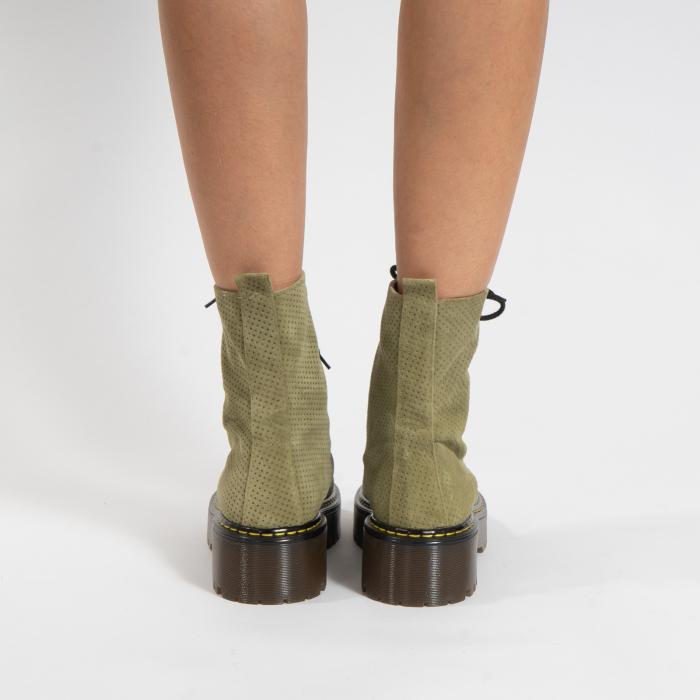 Bocanci cu siret, din piele naturala intoarsa kaki, cu presaj [4]