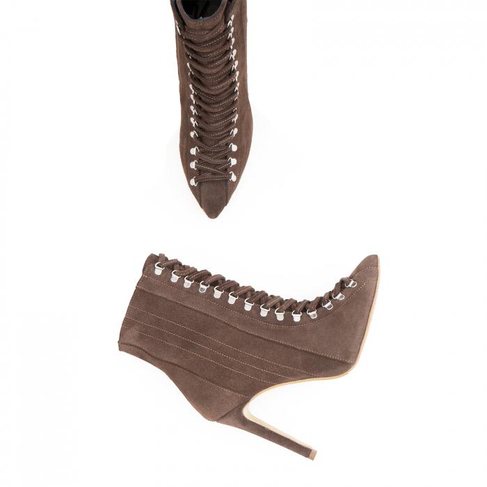Botine Stiletto cu siret si capse metalice,din piele naturala intoarsa maron cafeniu 2