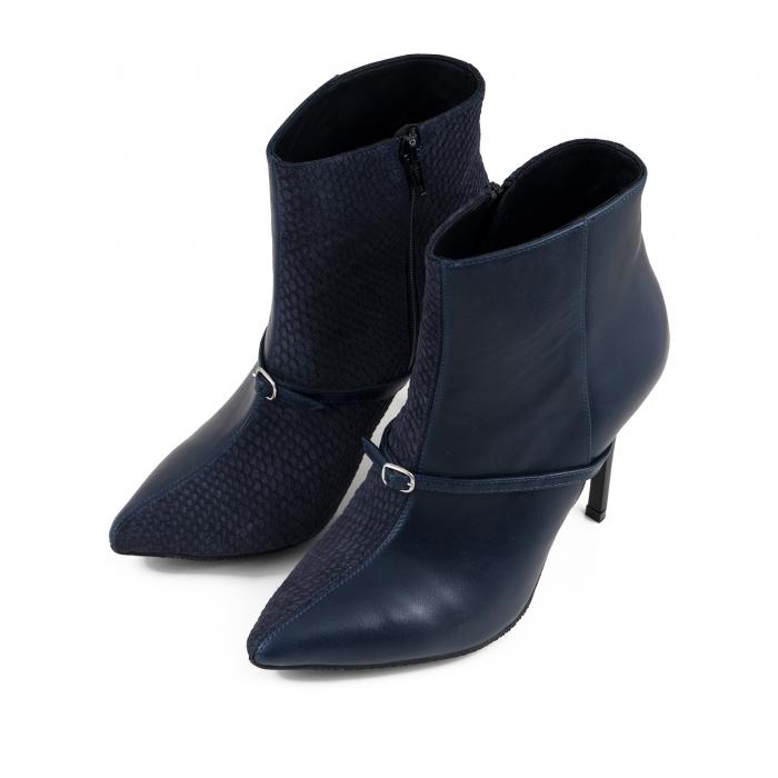 Botine Stiletto din piele intoarsa albastru inchis box si albastru cu aspect tip sarpe, accesorizate cu bareta si catarama peste rist 1