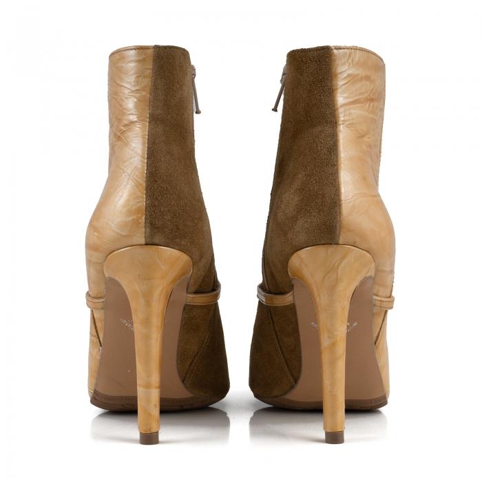 Botine Stiletto din piele intoarsa maron mustar si piele lacuita camel cu umbre 4