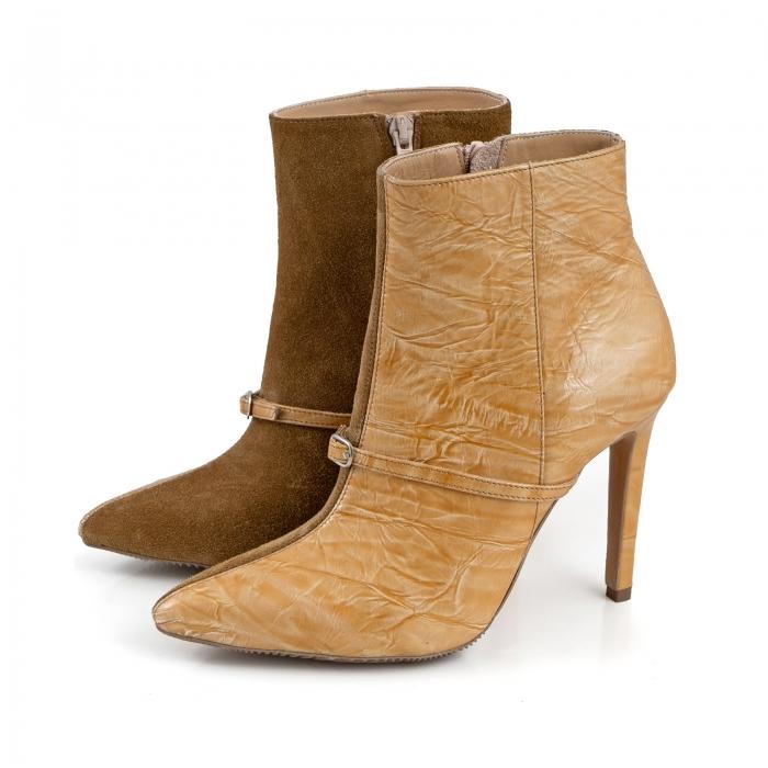 Botine Stiletto din piele intoarsa maron mustar si piele lacuita camel cu umbre 1