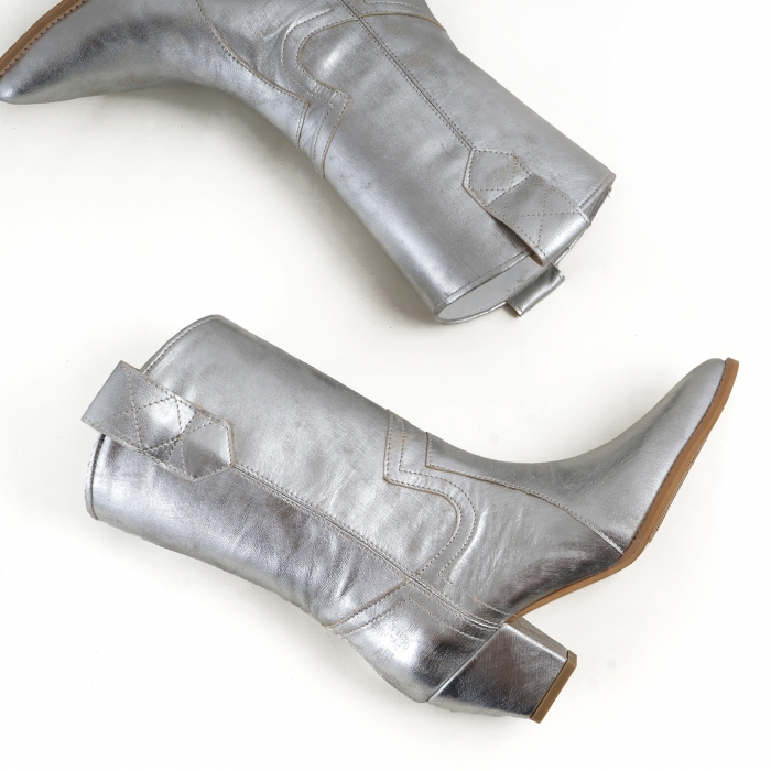 Ciocate tubulare din piele laminata, argintiu patinat [4]