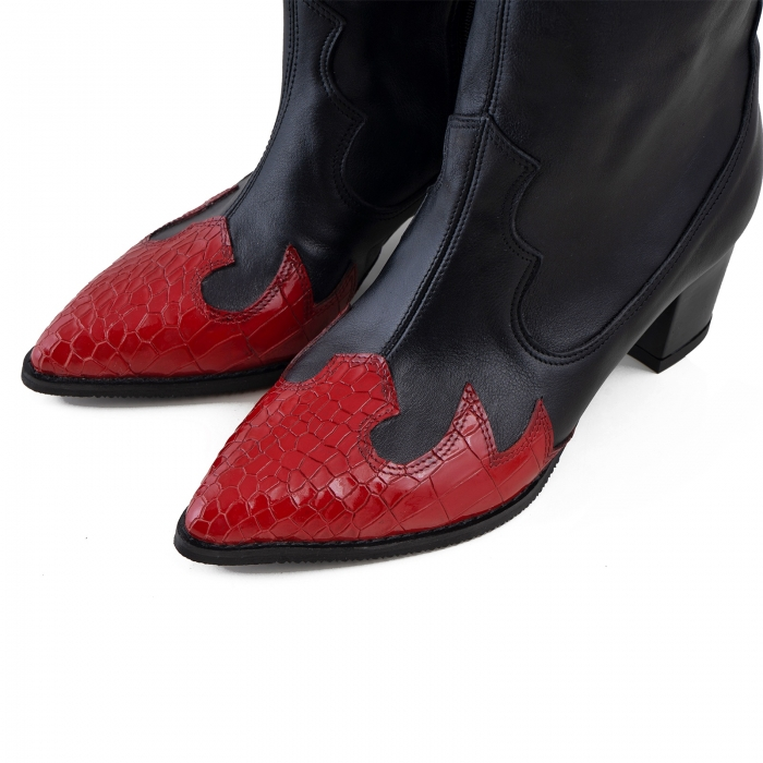 Ciocate scurte,din piele naturala neagra, si piele rosie cu design tip croco 2