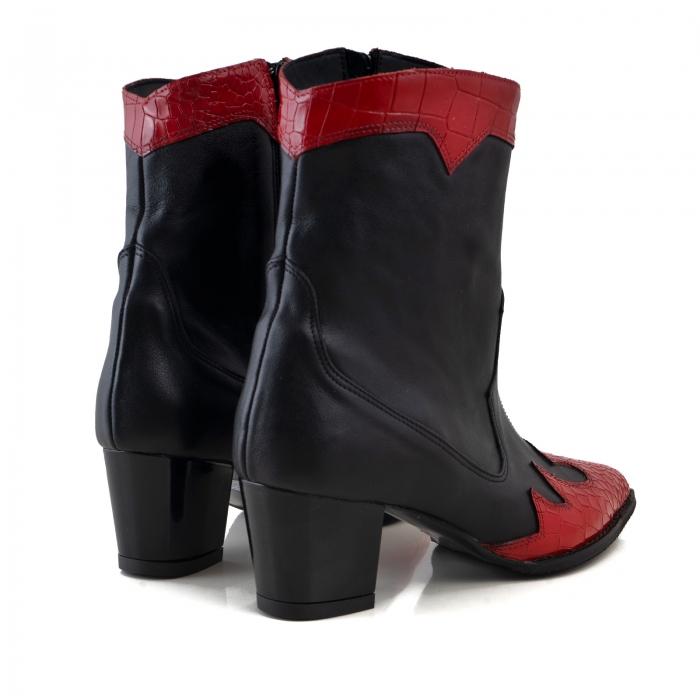 Ciocate scurte,din piele naturala neagra, si piele rosie cu design tip croco 3