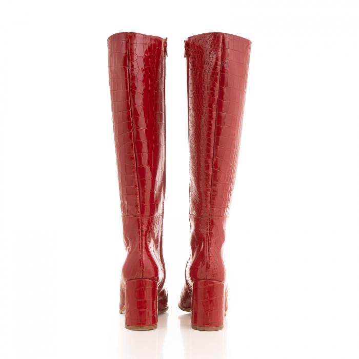 Cizme din piele naturala rosie cu aspect tip croco 2