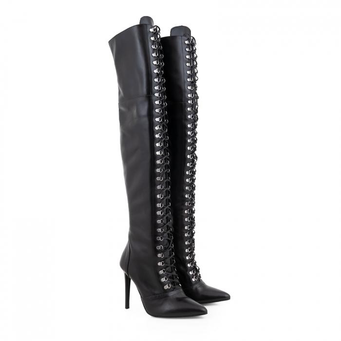 Cizme Stiletto peste genunchi,cu siret si capse metalice, din piele naturala neagra 1