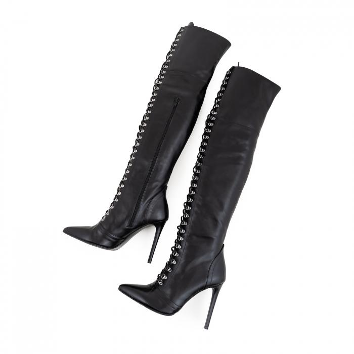 Cizme Stiletto peste genunchi,cu siret si capse metalice, din piele naturala neagra 3