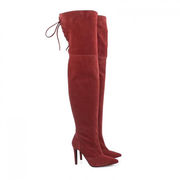 Cizme Stiletto peste genunchi ,din piele intoarsa burgundy 1