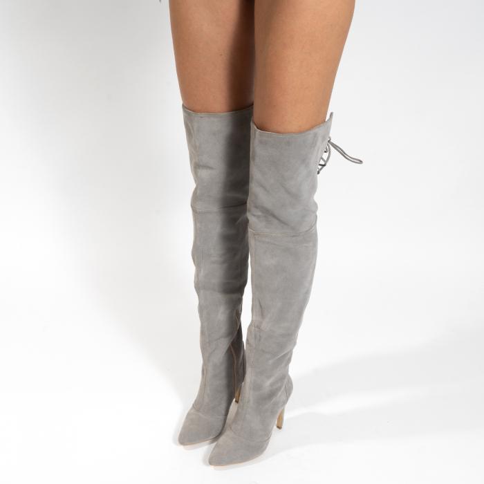 Cizme Stiletto peste genunchi, din piele naturala intoarsa gri 3