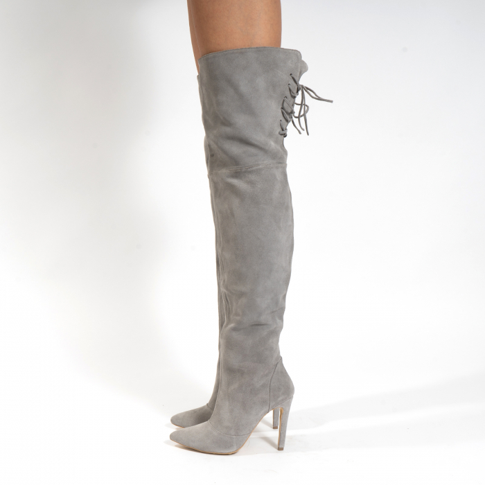 Cizme Stiletto peste genunchi, din piele naturala intoarsa gri 1