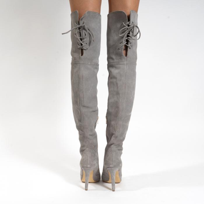 Cizme Stiletto peste genunchi, din piele naturala intoarsa gri 4