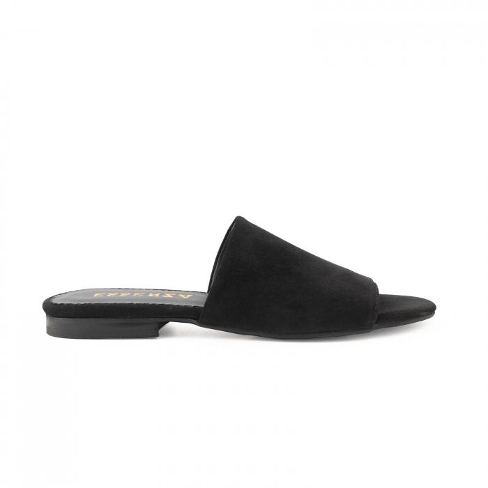 Flip flops din piele intoarsa neagra 0