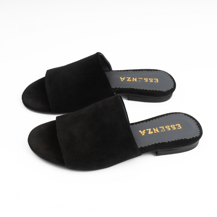 Flip flops din piele intoarsa neagra 1