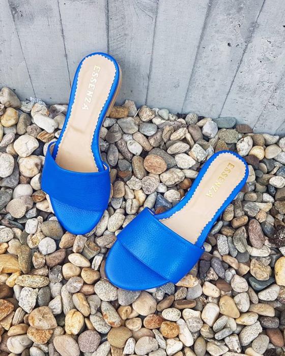 Flip flops din piele naturala albastru cobalt. 3