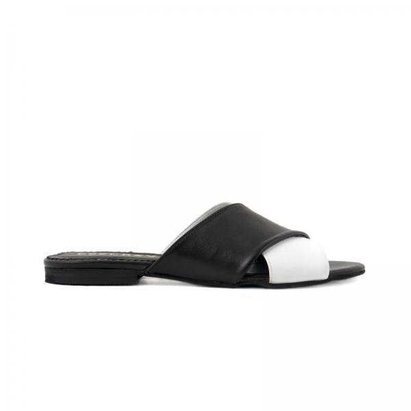 Flip flops din piele naturala neagra si alba 0