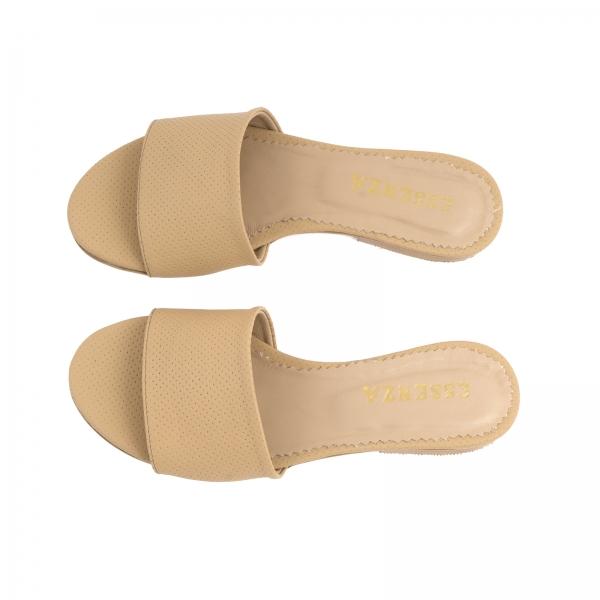 Flip flops din piele naturala nude cu perforatii [2]