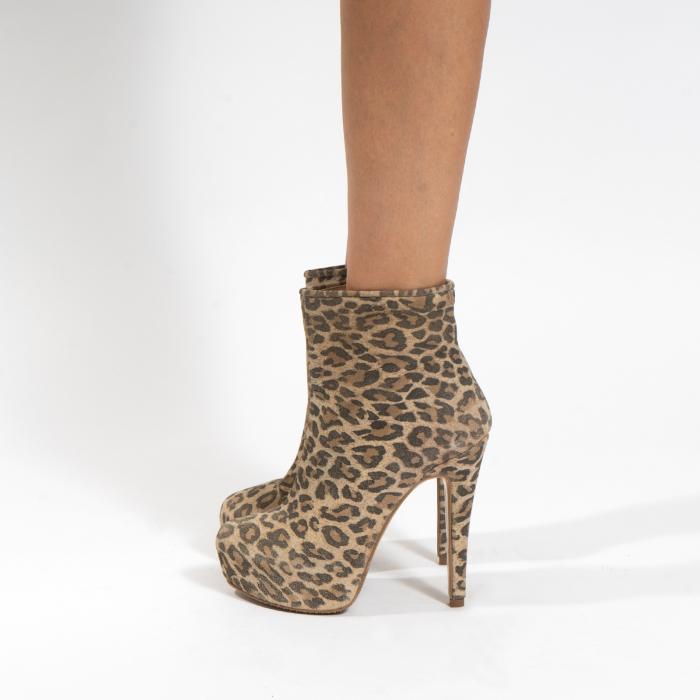Ghete din piele naturala,animal print tip leopard,cu toc stiletto si platou interior 1