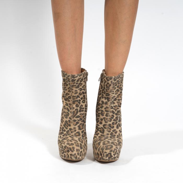 Ghete din piele naturala,animal print tip leopard,cu toc stiletto si platou interior 2