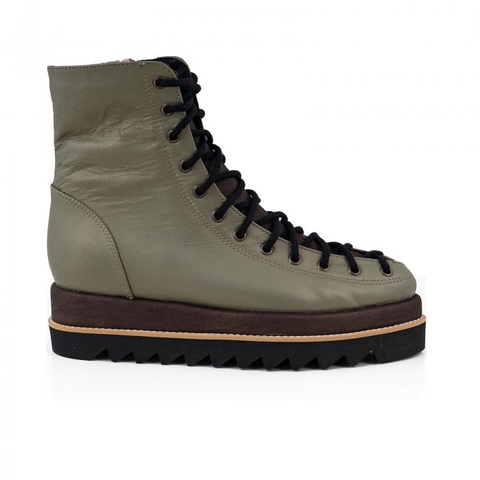 Ghete Everest cu siret, din piele sidefata kaki deschis piele maron patinat 0