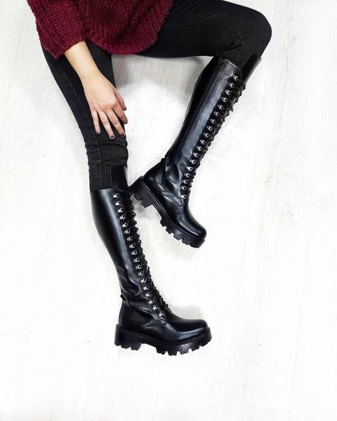 Combat Boots din piele neagra 0