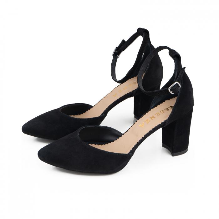 Pantofi cu decupaj si bareta la calcai, din piele intoarsa neagra [1]