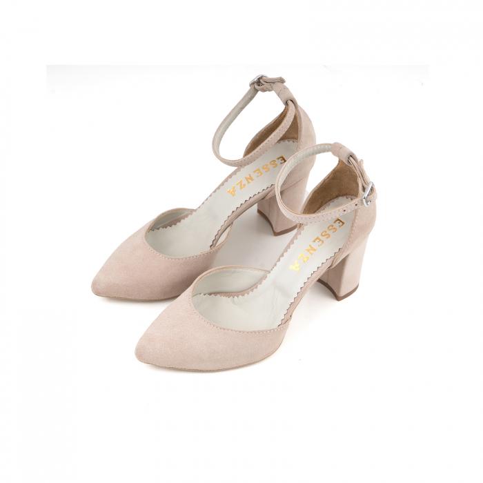 Pantofi cu decupaj si bareta la calcai, din piele intoarsa nude 1