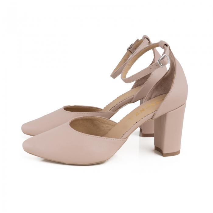Pantofi cu decupaj si bareta la calcai, din piele naturala nude rose. 1