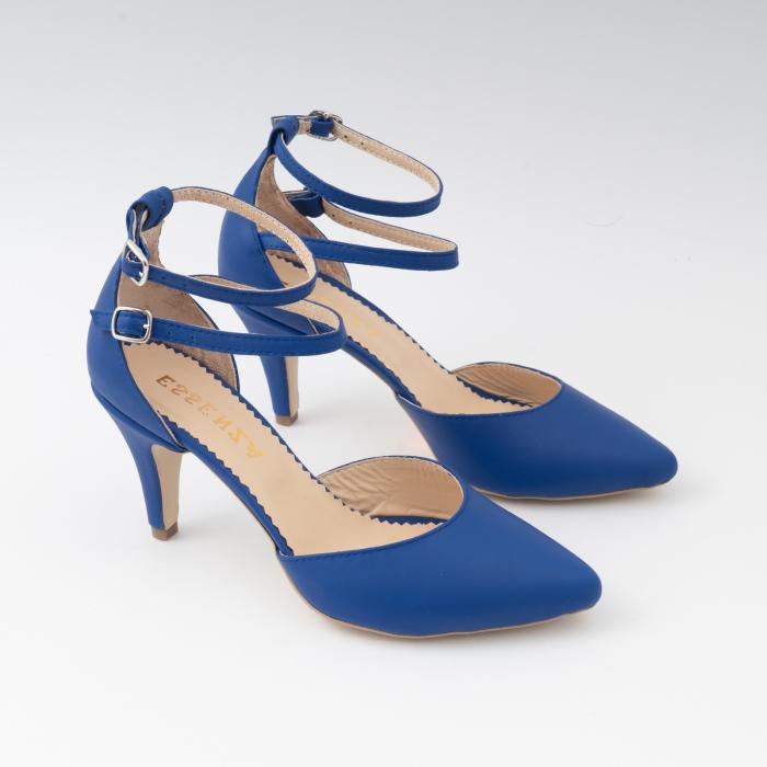 Pantofi cu decupaj si barete la calcai, din piele naturala albastra 2