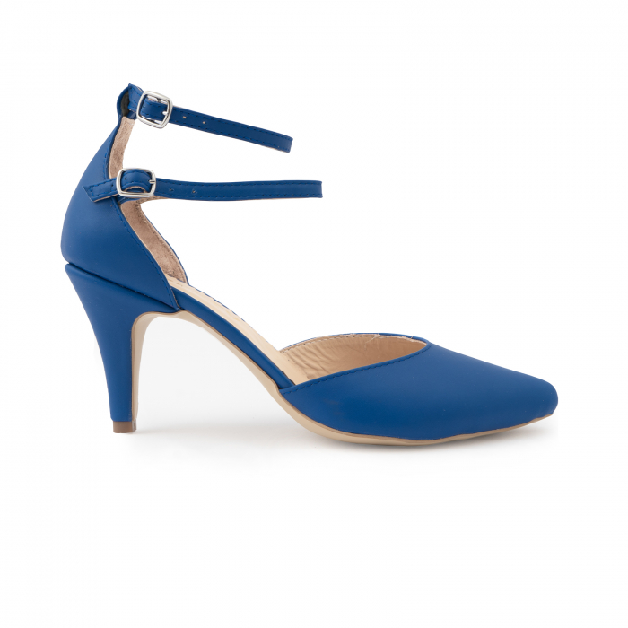 Pantofi cu decupaj si barete la calcai, din piele naturala albastra 0