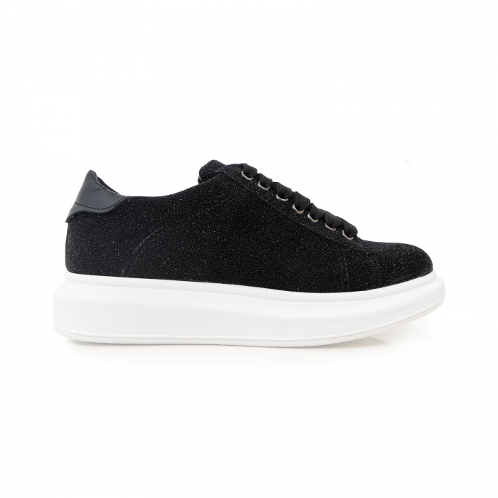 Pantofi cu talpă groasă, realizati din piele naturală neagra texturata 0