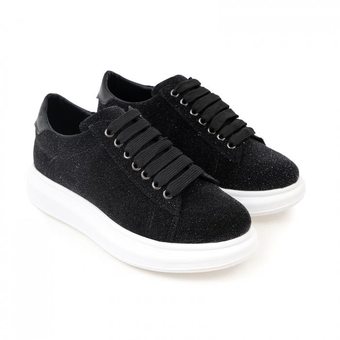 Pantofi cu talpă groasă, realizati din piele naturală neagra texturata 2