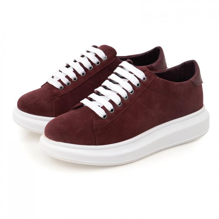 Pantofi cu talpă groasă, realizati din piele naturală visiniu-caramiziu 3