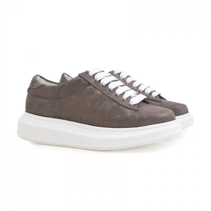 Pantofi cu talpă groasă, realizati din piele natural gri glitter 1