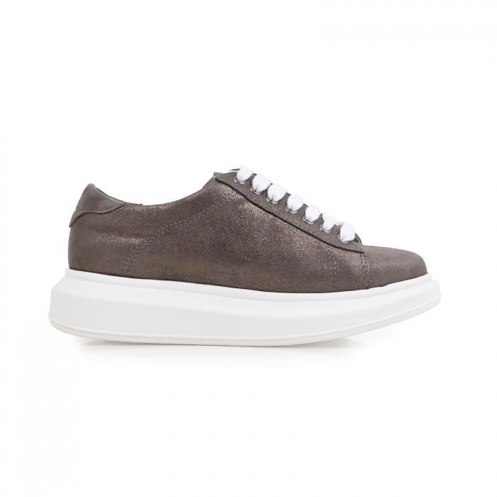 Pantofi cu talpă groasă, realizati din piele natural gri glitter 0