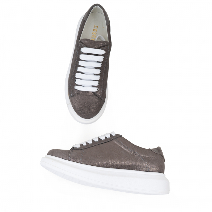 Pantofi cu talpă groasă, realizati din piele natural gri glitter 2