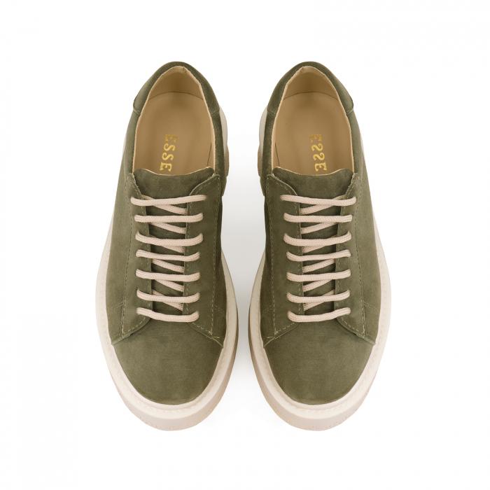 Pantofi cu talpă groasă, realizati din piele naturala intoarsa, kaki 2