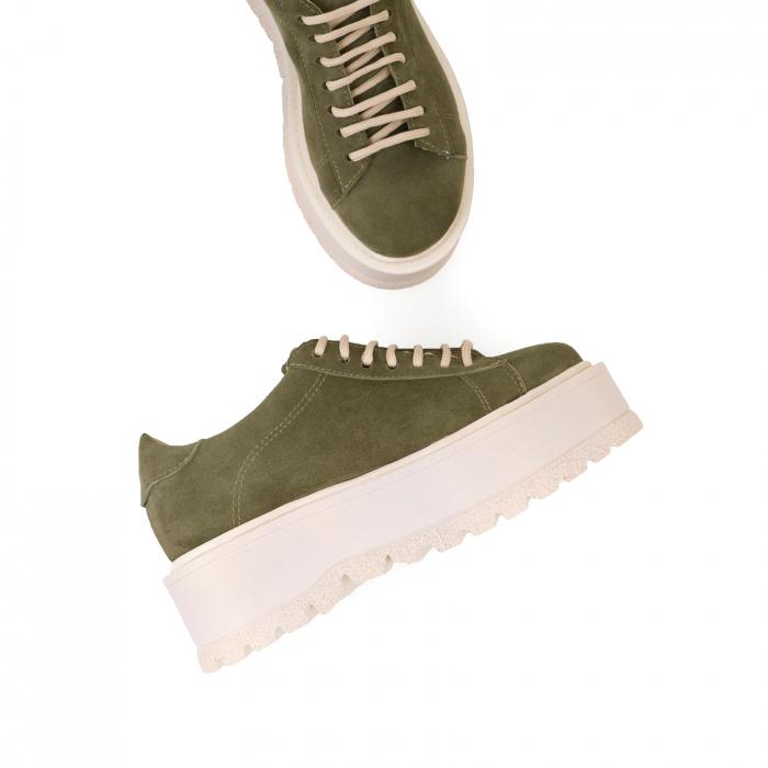 Pantofi cu talpă groasă, realizati din piele naturala intoarsa, kaki 3