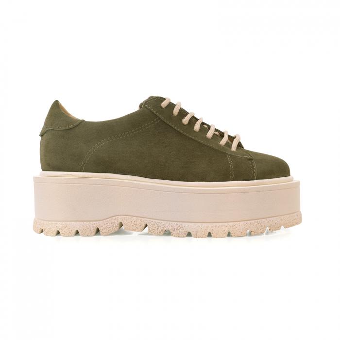 Pantofi cu talpă groasă, realizati din piele naturala intoarsa, kaki 0