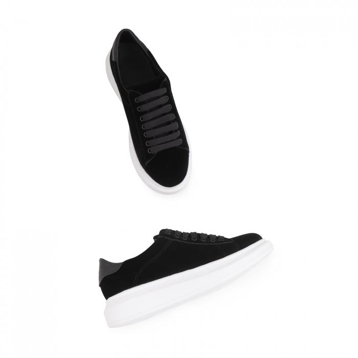 Pantofi cu talpă groasă neagra, catifea si piele naturala neagra [5]