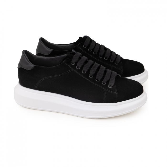 Pantofi cu talpă groasă neagra, catifea si piele naturala neagra [1]