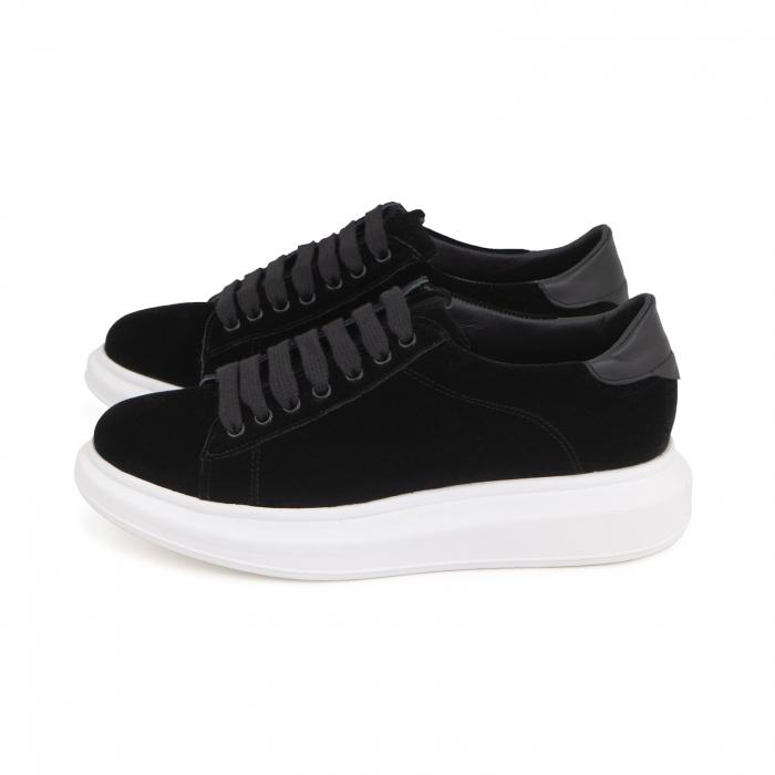 Pantofi cu talpă groasă neagra, catifea si piele naturala neagra [4]