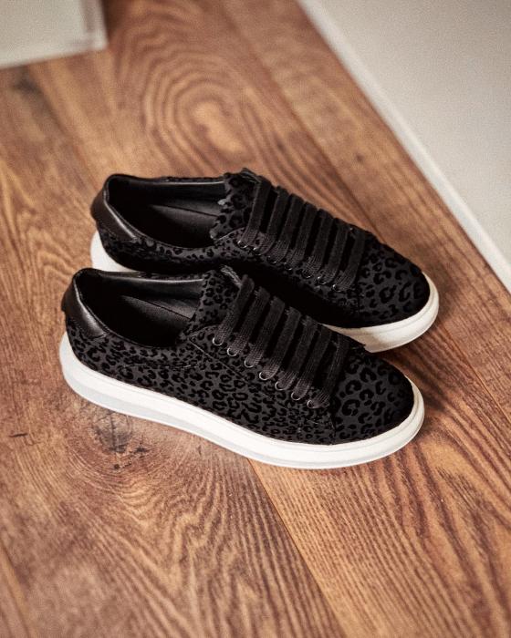 Pantofi cu talpă groasă, realizati din catifea cu animal print [1]