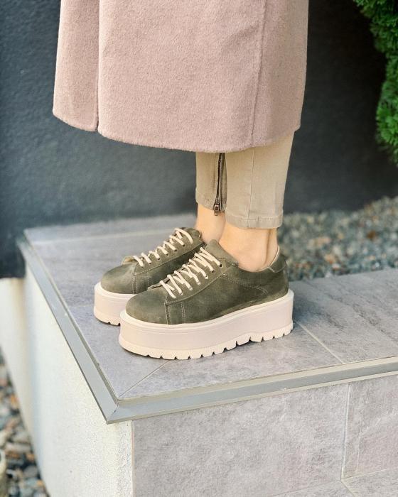 Pantofi cu talpă groasă, realizati din piele naturala intoarsa, kaki [0]