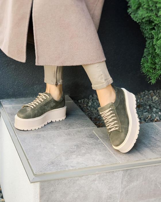 Pantofi cu talpă groasă, realizati din piele naturala intoarsa, kaki 1